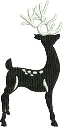Silhouette Black & White Reindeer embroidery design