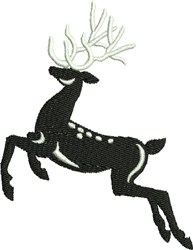 Leaping Silhouette Black & White Reindeer embroidery design