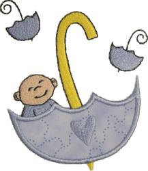Baby Boy in Umbrella Applique embroidery design
