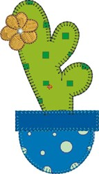 Potted Cactus Applique embroidery design