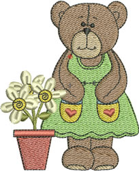 Cute Standing Bear embroidery design