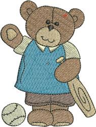 Cute Baseball Bear embroidery design