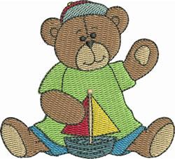 Cute Sailboat Bear embroidery design