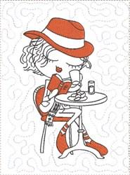 ITH French Café Girly Mug Mat 2 embroidery design