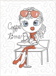 ITH French Café Girly Mug Mat 6 embroidery design