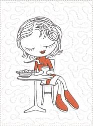 ITH French Café Girly Mug Mat 7 embroidery design