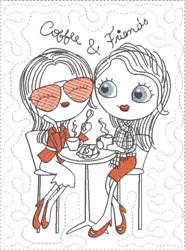 ITH French Café Girly Mug Mat 8 embroidery design