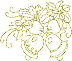 Golden Christmas Bells embroidery design