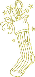 Golden Christmas Stocking embroidery design