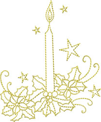 Golden Christmas Candle embroidery design
