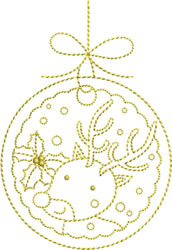 Golden Christmas Ornament embroidery design