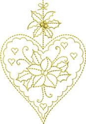 Golden Christmas Heart embroidery design
