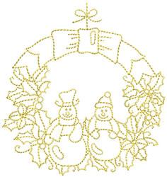 Golden Christmas Wreath embroidery design