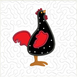Tall Chicken Feathers Quilt block embroidery design