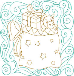 Christmas Sack Quilt Block embroidery design