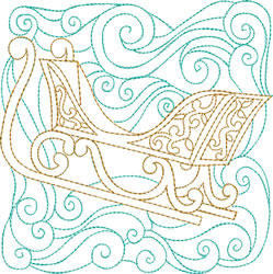 Christmas Sleigh Quilt Block embroidery design