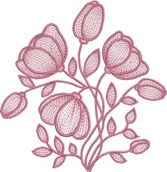 Contour Floral embroidery design