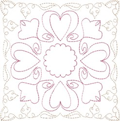 Sweetheart Single Run Quilt Block embroidery design