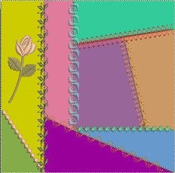 ITH Crazy Quilt Block with Long Stemmed Rose embroidery design