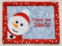 Snowman Thank You Mug Mat embroidery design