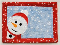 Peeking Snowman Mug Mat embroidery design