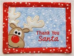 Reindeer Thank You Mug Mat embroidery design