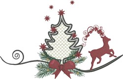 Christmas Tree and Reindeer embroidery design