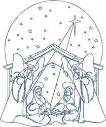 Bluework Nativity embroidery design