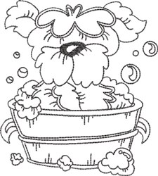 Dog Bath 8 embroidery design
