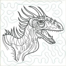 Dinosaur 9 Quilt Block embroidery design