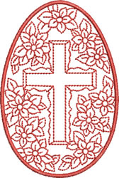 Easter Cross and Flowers embroidery design