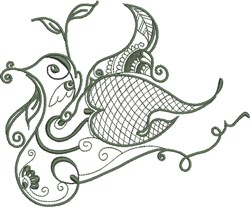 Triple Cups Redwork embroidery design