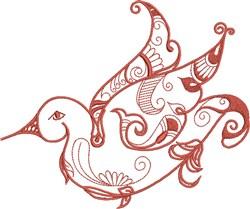 Orange Exotic Bird embroidery design