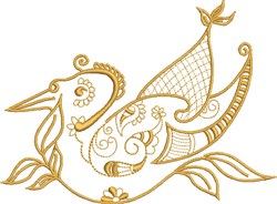 Yellow Exotic Bird embroidery design