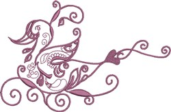 Plum Exotic Bird embroidery design
