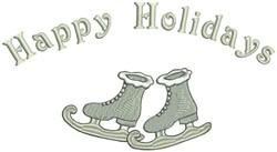 Happy Holidays & Skates embroidery design