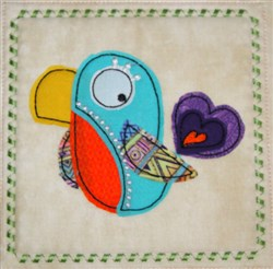 Whimsical Bird Applique Block embroidery design