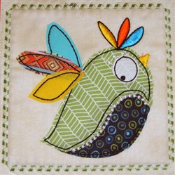 Whimsical Bird Applique Block 2 embroidery design