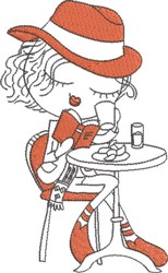 French Café Girl 2 embroidery design