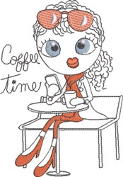 French Café Girl 6 embroidery design