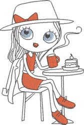 French Café Girl 9 embroidery design