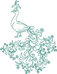 Large Peackock - Floral Tail embroidery design