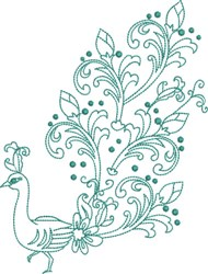 Large Peacock - Mardi Gra Tail embroidery design