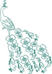 Large Peacock - Flowered Tail embroidery design