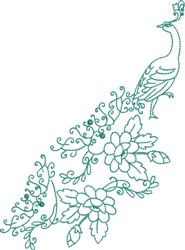 Large Peacock - Elegant Tail embroidery design