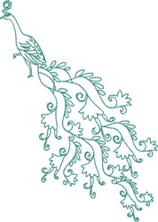 Large Peacock - Flowing Tail embroidery design