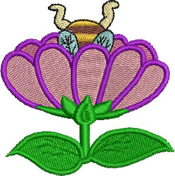 Bee in Flower embroidery design
