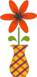 Plaid Vase Raw Edge Applique embroidery design