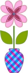 Flower & Vase Raw Edge Applique embroidery design