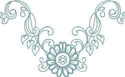 Daisy Flowery Neckline embroidery design
